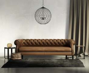Classic brown leather sofa, dark rug with stools, ceiling lamp