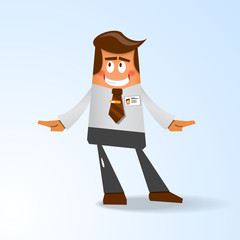 Happy office manager. Vector illustration
