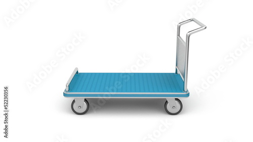 Airport luggage cart rotates on white background