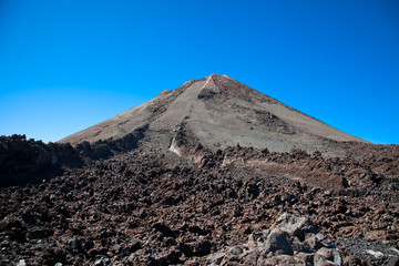 Top of Teide volcano and  lava landscape on Tenerife, Spain.