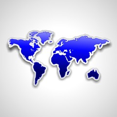 World Map Blue Sticker-Mappa Mondiale Adesivo Blu
