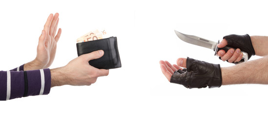Robber with knife taking wallet from victim