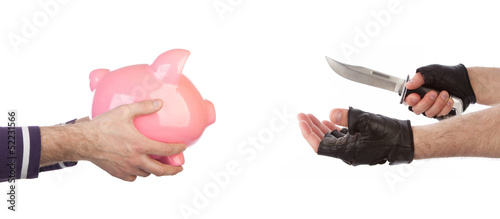Robber with knife taking piggy bank from victim