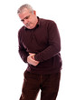 Senior man suffering from abdominal pain