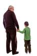 Senior man holding his grandson's hand, back view