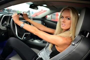 girl in sport car