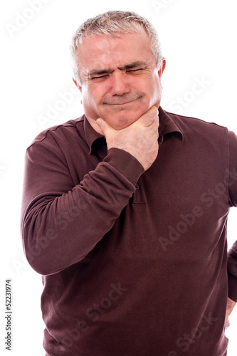 Senior man with throat pain