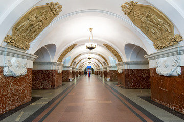 The metro station Krasnopresnenskaya in Moscow, Russia