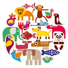 Zoo Animals - round vector illustration