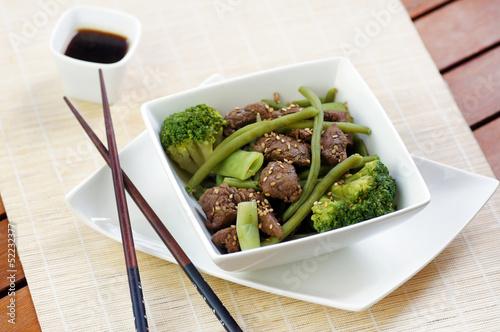 wok bœuf haricots plats verts et brocolis 2