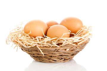 Brown eggs in the basket on white.