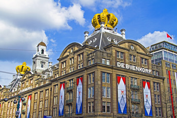 Decorated buildings during coronation Amsterdam Netherlands