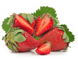 many strawberries on white background