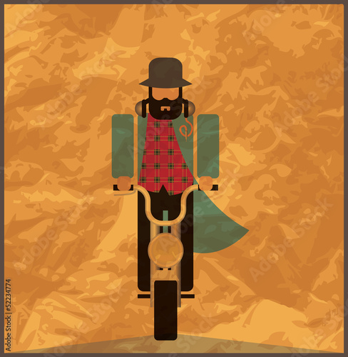 Man riding a motorcycle, vintage poster