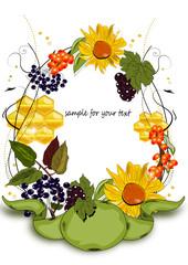 Sanddorn, Holunder, Sonnenblume Illustration