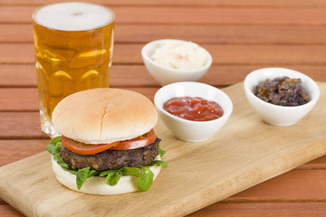 Buger & Beer with ketchup, caramelised onions and coleslaw.