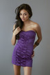 Beautiful exotic young woman long hair in dress
