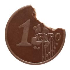 Chocolate euro on a white background