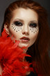 Theater. Stage. Styled Woman's Face with Creative Eye Make-up