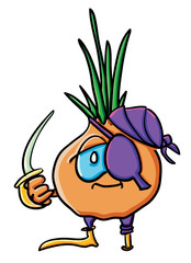Funny cartoon onion is pirate