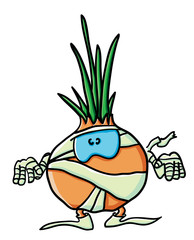 Funny cartoon onion  is a  mummy