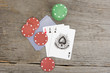 playing cards and poker chips on wooden background