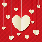 Paper hearts red background. Valentines day card.