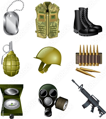 army and military icons detailed vector set