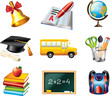 school icons detailed vector set