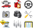 car service and filling station icons detailed vector set