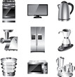 kitchen appliances detailed vector set