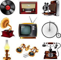 retro objects icons detailed vector set