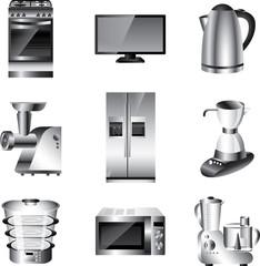 kitchen appliances detailed vector set