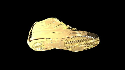 Gold shiny athletic sneakers