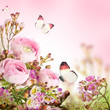 canvas print picture - Gentle bouquet from pink roses and butterfly