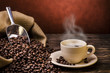 canvas print picture - boiling black coffee