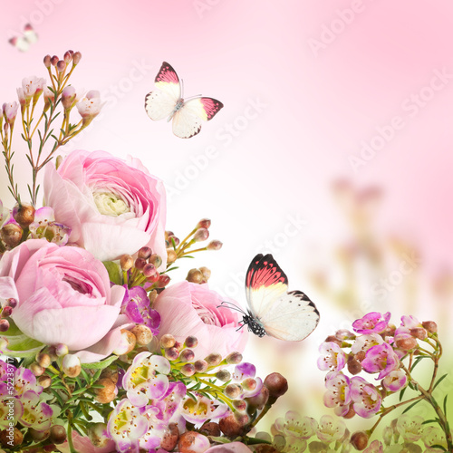 Gentle bouquet from pink roses and butterfly