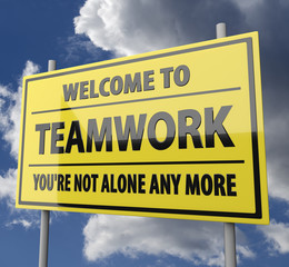 Road sign with words Welcome to teamwork on blue sky background