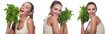 Happy young woman with bundle herbs salat in hands