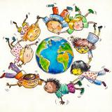 Fototapety Children flying around Earth