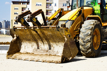 bulldozer on building site