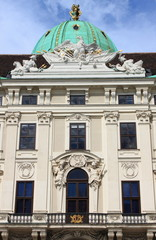Facade of Hofburg Palace in Vienna, Austria