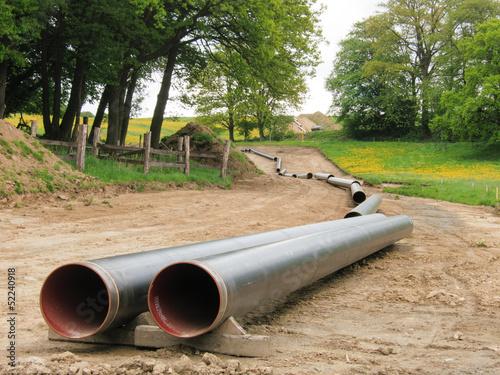 Leinwanddruck Bild Gasleitungsmontage