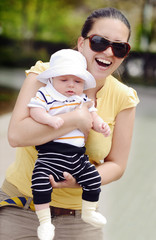 happy mother with baby son