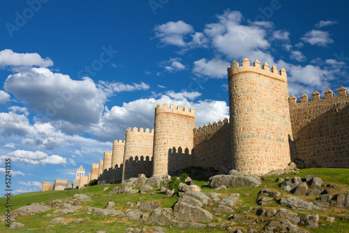 Medieval city wall built in the Romanesque style, Avila, Spain