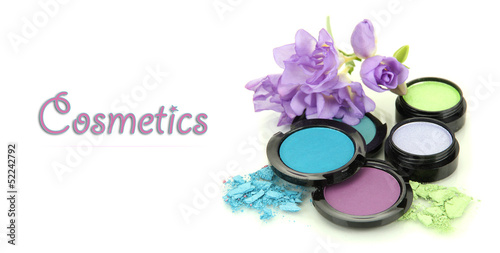 Beautiful bright eye shadows isolated on white