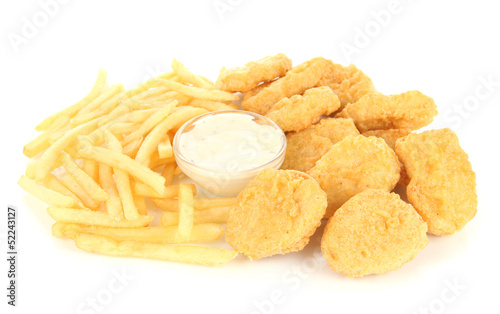 Fried chicken nuggets with french fries and sauce isolated