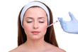 Young woman receiving plastic surgery injection