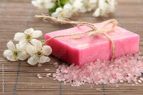 Natural handmade soap on bamboo mat