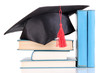 Grad Hat With Books Isolated O...
